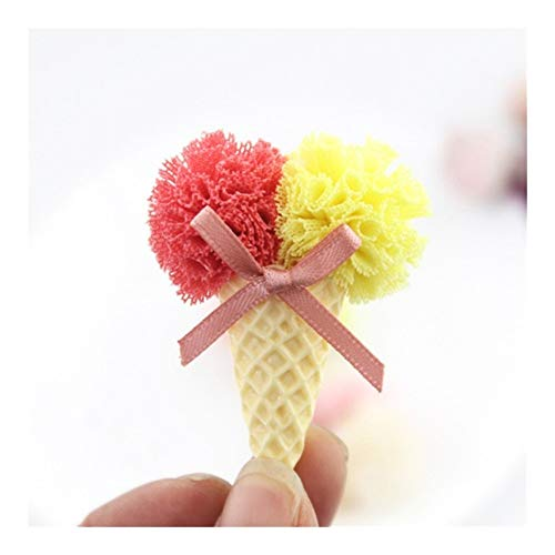 LZZR 10pcs/lot Mix Color 4.2 * 5.5cm Two Flowers Ball Ice Cream For Children Hair Accessories And DIY Handmde Artificial Flowers (Color : 2)