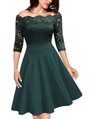 KOJOOIN Damen 1950er Vintage Brautjungfernkleider für Hochzeit Kurzes A-Linie Abendkleider, Dunkelgrün (Off Schulter)-langarm, Gr.- S/34-36