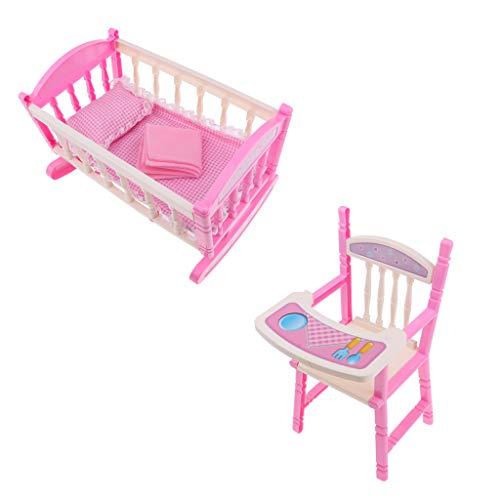 F Fityle Modelo Silla de Infantil con Cuna Columpio para Muñeca Bebé Renacida 9-11 Pulgadas