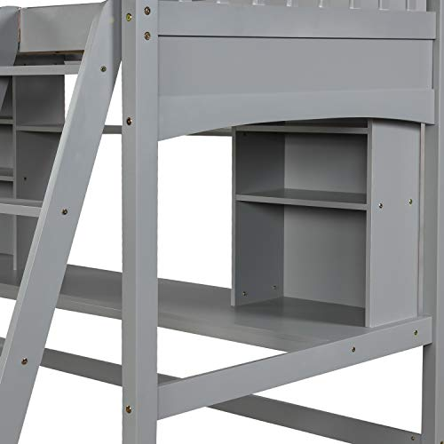 Twin High Loft Bed, Wood Bed Frame with Desk, Storage Shelves, Safety Ladder, Space Saving Design, Grey
