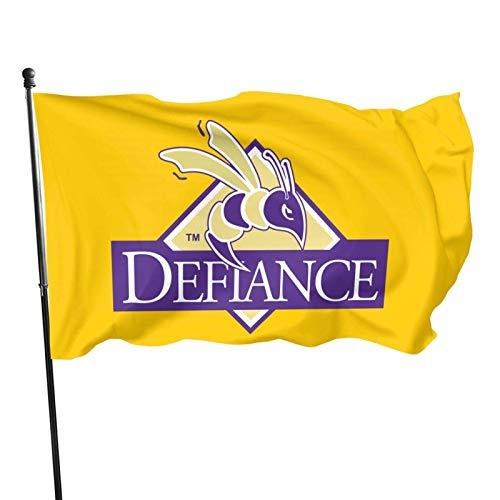 AEMAPE Bandera de Defiance con logotipo universitario de 3 x 5 pies, resistente a la decoloración para exteriores, casa, porche, decoración de vacaciones, bandera de jardín, Navidad
