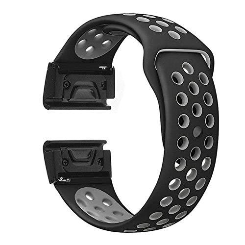 TKPOLD Silicone Watch Band Strap Strap Reemplazo Forgardmin Fenix 6 6X 6s Pro 5X 5X 5s Plus Sport Smart Watch Pulsera (Band Color : Black Grey, Band Width : Fenix 5X 5xplus)