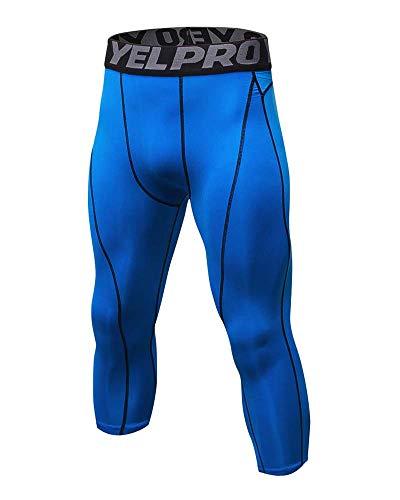 Yanlian Herren 3/4 Tights Stretch Sport Fitness Kompressions Hosen Tights Base Layer Hose Schnelltrocknend Elastizität Hose Blau L