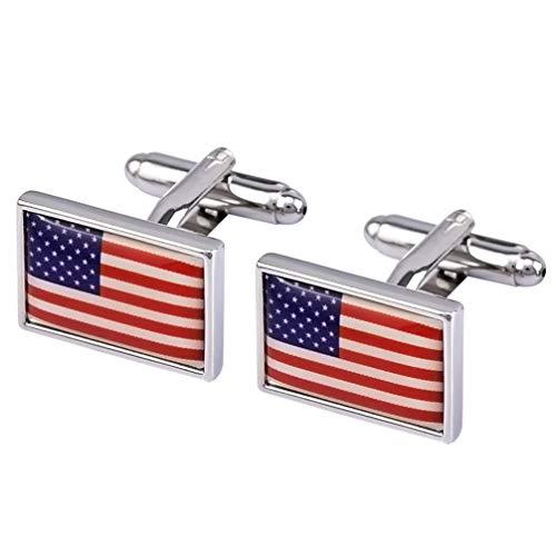 VALICLUD 1 par de Mancuernas de La Bandera Americana Ropa Tachuelas del...