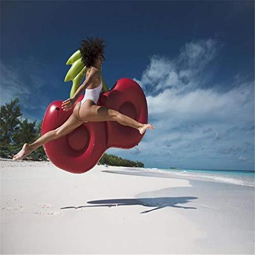 Piscina Inflable Flotador Gigante Cereza Inflable Piscina Flotante Playa Roja Tumbona Colchón De Aire Adulto Anillo De Natación Agua -Adultura Flotante Red- 150 * 130CM