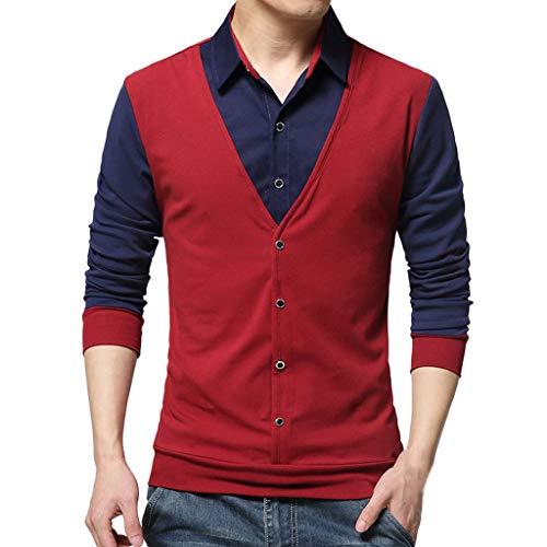 Xmiral Herren Tops Bluse Lässige Mode Gefälschte Zwei T-Shirt Langarm Patchwork Shirt Gentleman Weste Party Kostüm(S,Rot)
