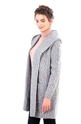 100% Irish Merino Wool Ladies Classic Fit Long Cardigan with Hood (Grey, S)