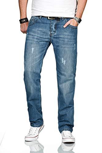 Alessandro Salvarini Designer Herren Jeans Hose Basic Jeanshose gerades Bein Comfort Fit, 32W / 32L, Hellblau