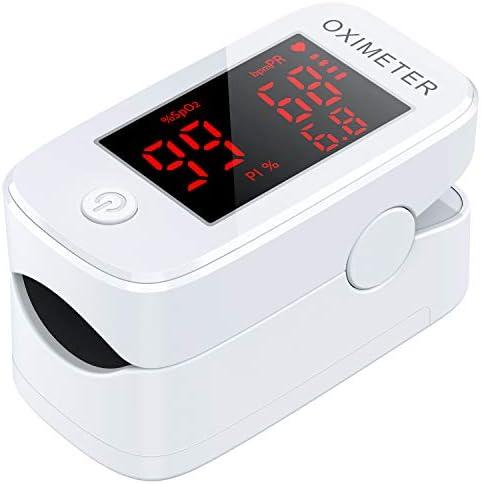 MeaMae Care Oxímetro de pulso Oxímetro de dedo para medir la saturación de oxígeno en la sangre frecuencia del pulso y PI pulsioximetro de dedo profesional con pantalla LED