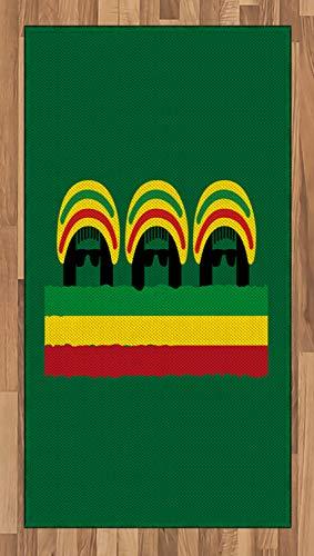 ABAKUHAUS jamaikanisch Teppich, Reggae-Themen-Hut, Deko-Teppich Digitaldruck, Färben mit langfristigen Halt, 80 x 150 cm, Mehrfarbig Grün