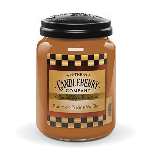 Candleberry Candles   Strong Fragrances for Home   Hand Poured in The USA   Highly Scented & Long Lasting   Large Jar 26 oz (Pumpkin Praline Waffles)