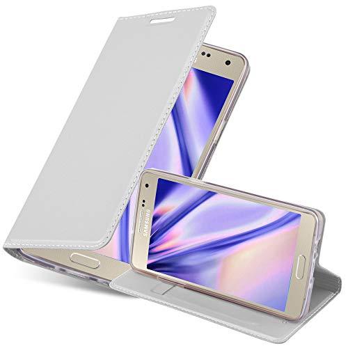 Cadorabo Custodia Libro per Samsung Galaxy A3 2015 in CLASSY ARGENTO – con Vani di Carte, Funzione Stand e Chiusura Magnetica – Portafoglio Cover Case Wallet Book Etui Protezione