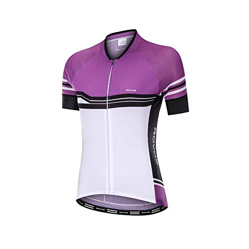 ROVOS Women Cycling Clothes Jersey Road Bicycle Short Sleeve Quick-Dry Breathable Biking Shirt Full Zipper Bike Jacket(Purple,X-Large)