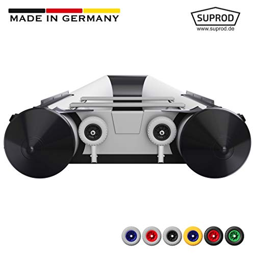 SUPROD Slipräder, Heckräder, Transporträder für Schlauchboot, mit EIN-Hand Bedienfunktion, HD200, Edelstahl V4A, grau/schwarz