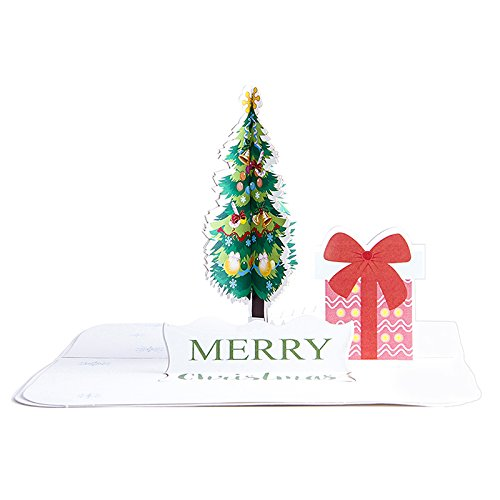 Paper Spiritz Pop up Christmas Cards - 3D Handmade Holiday Greeting Cards - Laser Cut Pop up Card Christmas Tree - Christmas Pop up Greeting Cards - Holiday Pop Up Cards Birthday Gift