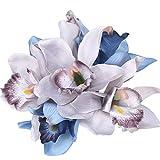 Lsgepavilion 1 bouquet d'orchidée artificielle 7 têtes pour décoration de table Gris/bleu #
