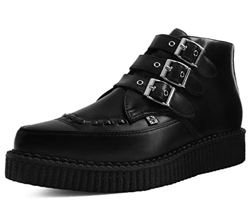 T.U.K. Shoes A9325 Unisex-Adult Boots, Black TUKskin 3-Buckle Pointed Creeper Boot