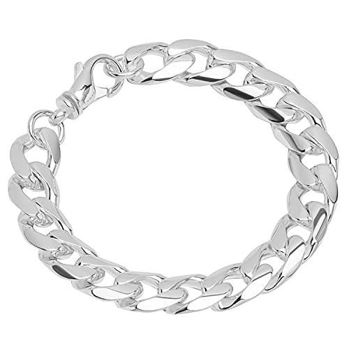 NKlaus Pulsera de plata de ley 925, 22 cm, cadena plana y torcida, para hombre, 12033