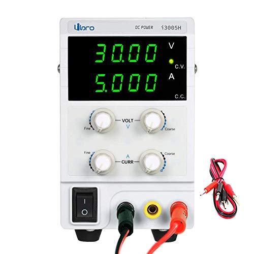 iiBro Fuente de alimentación Regulable DC 0-30V 0-5A 4 LED Precisión Ajustable Transformador, para Laboratorio, reparación General EU Plug