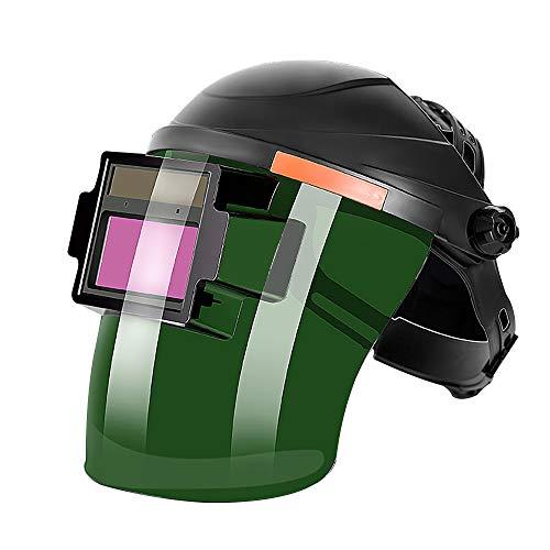 ALLOMN Máscara de Soldadura, Casco de Soldadura Solar Casco de Ajuste Montado en la Cabeza Oscurecimiento Automático, Sensor de Alta Sensibilidad, Energía Solar (Con 2 Almohadillas)