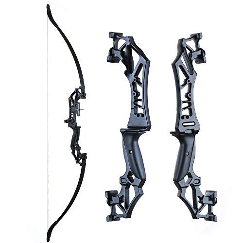 TOPARCHERY Archery Takedown Recurve Bow Hunting Long Bow Alloy Riser for Outdoor Shooting Training- Right Hand - Draw Weight 30lbs 40lbs - with Arrow Sight, Arrow Brush (Black-40lb)