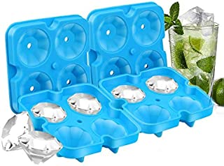 8 Diamond Ice Cubes, 2 PACK Diamond-Shaped Ice Cube Trays with Spill-Resistant Removable Lid and Funnel, BPA Free Easy Release Silicone Ice Cube Maker for Cocktail, Whisky, Bourbon and Chocolate