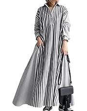 [アミークスエーアミーゴ] ストライプ シャツ ワンピース aライン レディース オーバーサイズ ロング 長袖 キレイメ 秋