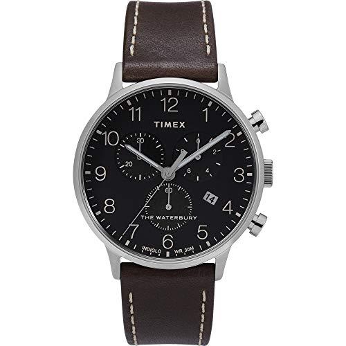 Timex Herren Analoger Quarz Uhr mit Echtes Leder Armband TW2T28200