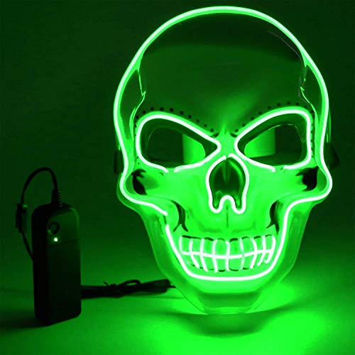 Vivibel LED Máscaras Halloween, Luminosa Craneo Esqueleto Mascaras, LED Máscaras Carnaval con 3 Modos de Iluminación, para Navidad, Halloween, Cosplay, Grimace Festival, Fiesta Show y Mascarada
