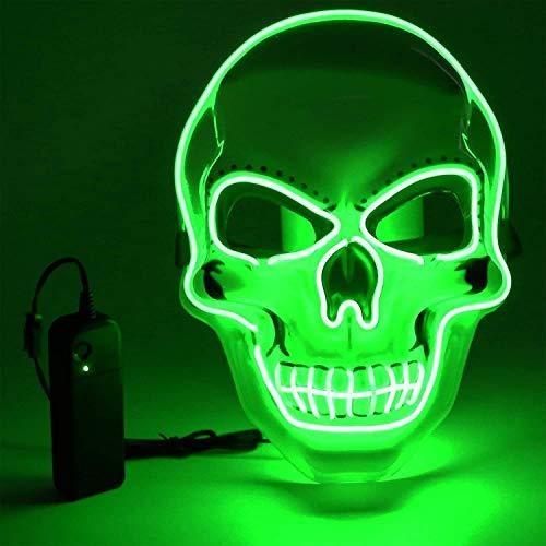 Vivibel LED Máscaras Halloween, Luminosa Craneo Esqueleto Mascaras, LED Máscaras...