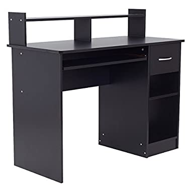 Black Modern Home Office Computer Desk Workstation Keyboard Tray Drawer 2 Storage Shelves Laptop Notebook PC Studying Reading Writing Versatile Multipurpose Table Space Saving Design