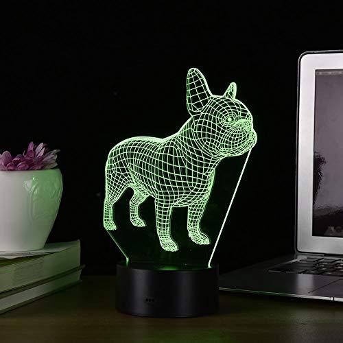 YKMY 3D Illusion Lampe Französische Bulldogge Hund LED Nachtlicht, 7 Farben Blinkende Touch Schalter Schlafzimmer Dekoration Beleuchtung für Kinder