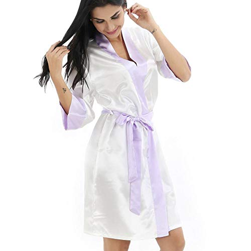 ISKER Damespyjama Vrouwen Rayon Kimono Badjas Witte Bruid Bruidsmeisje Bruiloft Robe Trim Slaapmode Casual Thuis Kleding Nachtkleding