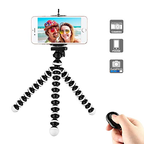 Phone Tripod, Portable Flexible Tripod Adjustable Cell Phone Camera Tripod with Wireless Remote and Universal Clip Mini Tripod Stand Holder for iPhone 11 Pro XS MAX XR,Android Phone,Samsung,GoPro