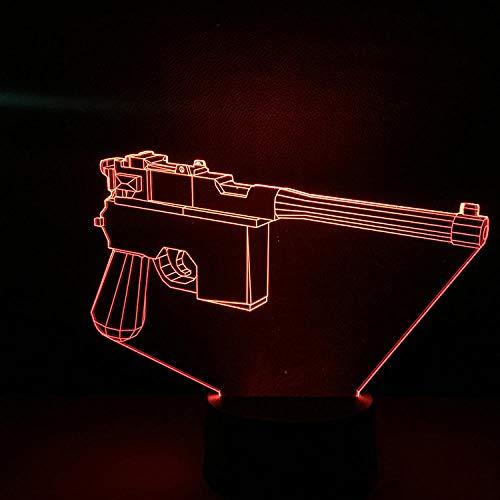 Xiujie 3D Nachtlicht Mauser Pistole 7 Farbe Illusion Lampe Kinder Usb Touch 3D Tischlampe Halloween Weihnachten Kinder Geschenk Schlafzimmer Nachttischlampe