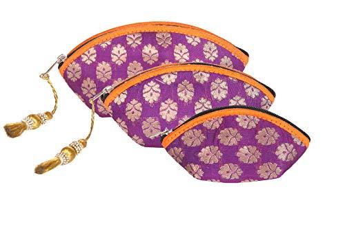 Handgefertigte, antike Seiden-Kosmetiktäschchen, indisch hergestellte Geldbörse, Clutch, Organza-Tasche mit ethnischem Design, Hochzeitsgeschenk (Set von 3)