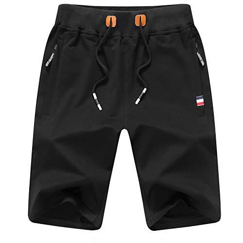 ZOXOZ Pantalones Cortos de Verano para Hombre Algodón Deportivos Shorts de Jogging Running Fitness Gym con Bolsillos con Cremallera en la Cintura elástica Negro XL