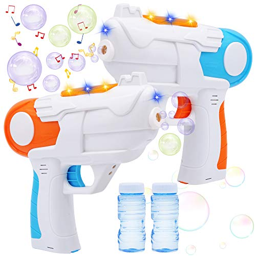 JOYIN 2 Colorful Bubble Gun with 4 Bottles Bubble Solutions (50ML) for Kids, Indoor and Outdoor Play, Bubble Blower Machine for Summer Themed Party and Birthday Supplies