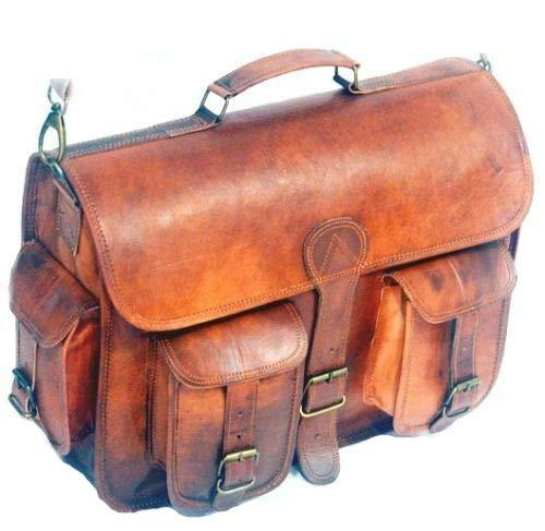 Leather Messenger Handmade Bag Laptop Bag Satchel Bag Padded Messenger Bag School Bag 16X12X5 Inches Brown … (18 inch)
