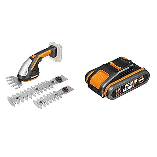 WORX WG801E 20V Zen Cordless Shrub/Grass Shear & WA3551.1 18V (20V MAX) 2.0Ah Battery Pack, 40 W, 20 V