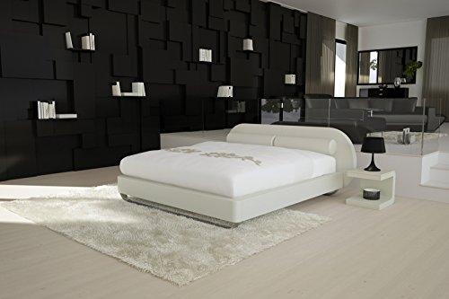 SAM® Design Boxspringbett Mila Girona weiß mit 7-Zonen H2 Taschenfederkern-Matratze, gesteppten Viscoschaum-Topper, Memory-Effekt und Chrom-Füßen 140 x 200 cm