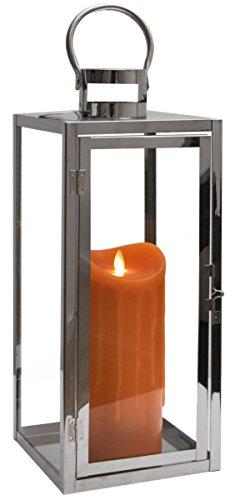 Dekovita 50cm Edelstahl-Laterne - Gartenlaterne inkl. 23cm LED Echtwachskerze Orange Wachstropfen mit 5h-Timer