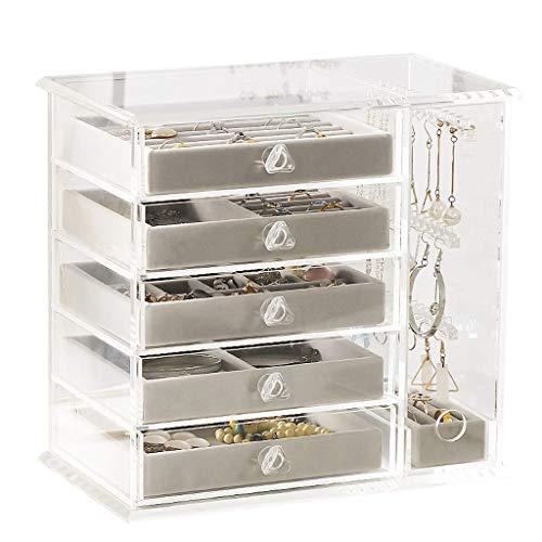 AJH Transparante juwelendoos High-end juwelendoos met grote capaciteit sieraden opbergdoos, eenvoudig en transparant acryl Meerlaags lade Sieraden opbergdoos