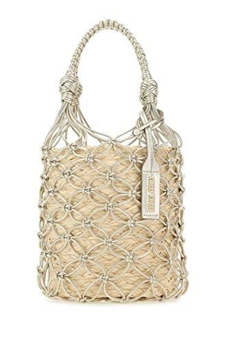 Miu Miu Luxury Fashion Damen 5BE0622C90F0Y2N Beige Grobes Leinen Handtaschen | Frühling Sommer 20