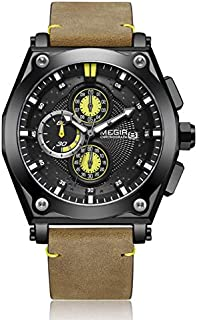 Megir Mens Quartz Watch, Chronograph Display and Leather Strap - 2098G