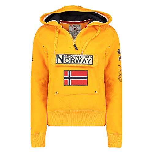 Geographical Norway GYMCLASS LADY - Sudadera Mujer Bolsillos Kangaroo - Sudadera Caliente Mujer - Suéter Abrigos Manga Larga - Hoodie Tops Casual Abrigo Estilo AMARILLO MOSTAZA M - TALLA 2