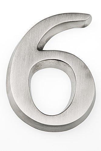 HUBER número de casa de aluminio 6/9 10 cm I números de casa para puerta - placas de número de casa en aluminio noble diseño 3D, anodizado