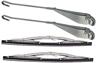 EMPI WIPER ARM & BLADE PACKAGE, SILVER ARMS, TYPE 1 VW BUG BEETLE, 1965-67, KT-1075, 4 PC SET