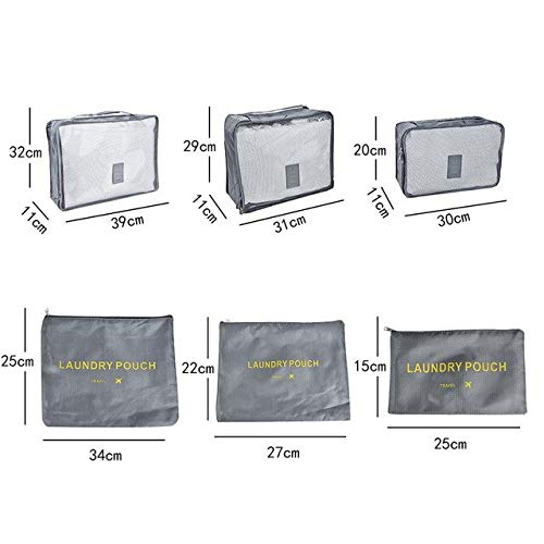 7pcs Travel Clothes Storage Bags Waterproof Wardrobe Suitcase Luggage Organizer Sorting Bags For Underwear Suits Shoes Partition - 6pcs gray,H1