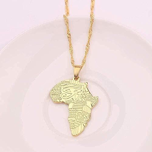 niuziyanfa Co.,ltd Collar Hip-Hop Mapa Africano con Collar de Ojo de Horus Colgante de Color Dorado Kwanzaa Amistad Joyas Tribales Regalos para Hombres Niños etíopes Regalos